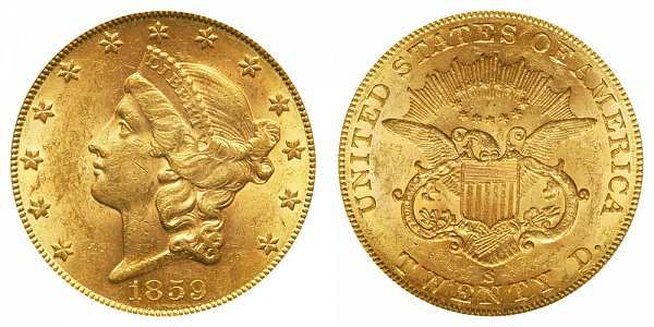 1859 S Liberty Head $20 Gold Double Eagle - Twenty Dollars