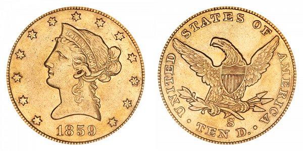 1859 S Liberty Head $10 Gold Eagle - Ten Dollars