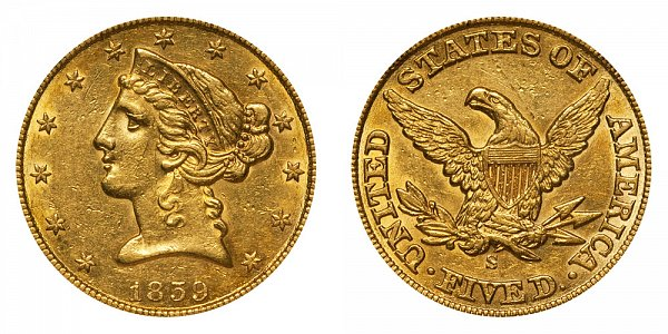 1859 S Liberty Head $5 Gold Half Eagle - Five Dollars