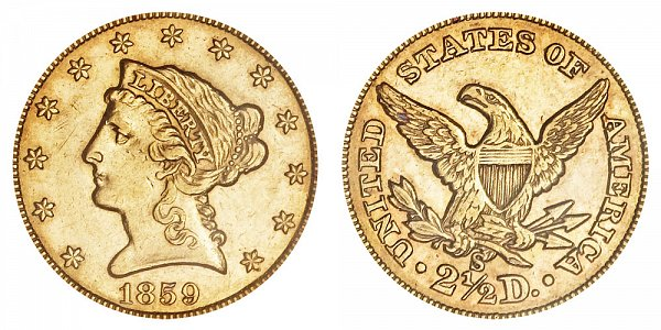 1859 S Liberty Head $2.50 Gold Quarter Eagle - 2 1/2 Dollars