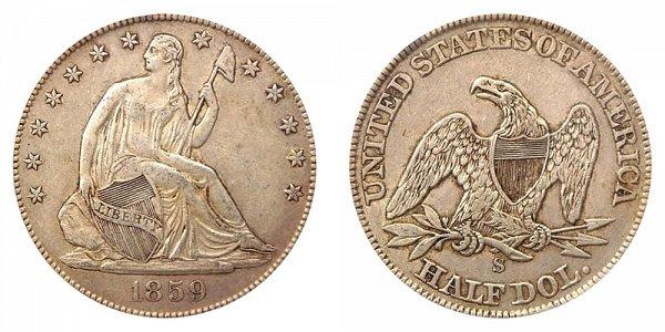 1859 S Seated Liberty Half Dollar