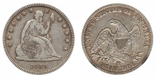 1859 S Seated Liberty Quarter