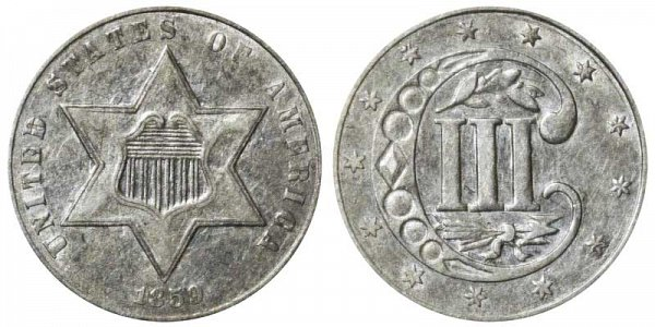 1859 Silver Three Cent Piece Trime