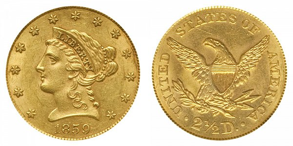 1859 Liberty Head $2.50 Gold Quarter Eagle - Old Reverse - Type 1