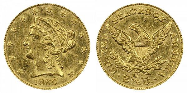 1860 C Liberty Head $2.50 Gold Quarter Eagle - 2 1/2 Dollars