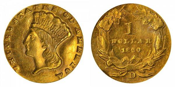 1860 D Large Indian Princess Head Gold Dollar G$1