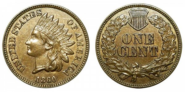 1860 Indian Head Cent Penny - Copper-Nickel CN