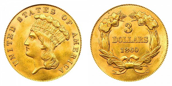 1860 Indian Princess Head $3 Gold Dollars - Three Dollars