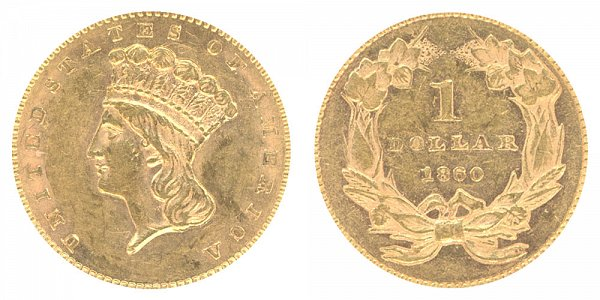 1860 Large Indian Princess Head Gold Dollar G$1