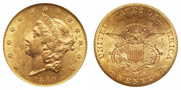 1860 Liberty Head $20 Gold Double Eagle - Twenty Dollars
