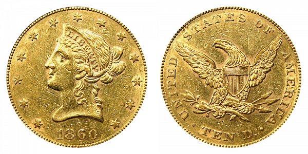 1860 Liberty Head $10 Gold Eagle - Ten Dollars