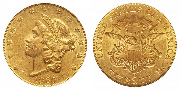 1860 O Liberty Head $20 Gold Double Eagle - Twenty Dollars