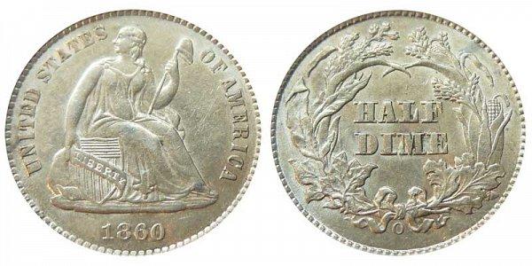 1860 O Seated Liberty Half Dime