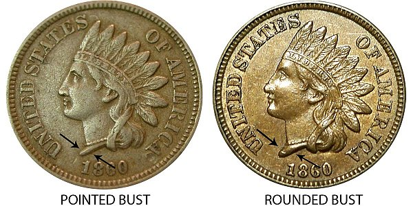 1860 Pointed Bust vs Rounded Bust Indian Head Cent Penny