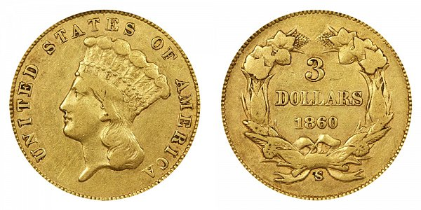1860 S Indian Princess Head $3 Gold Dollars - Three Dollars