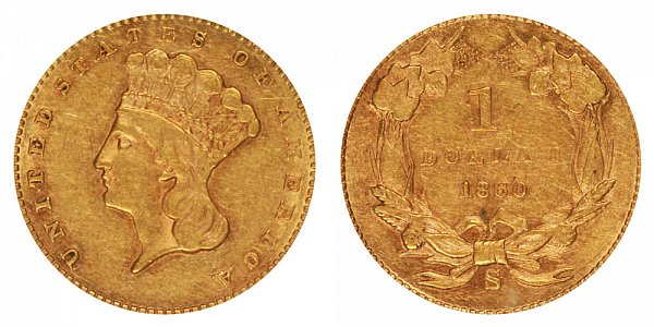 1860 S Large Indian Princess Head Gold Dollar G$1