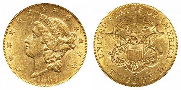 1860 S Liberty Head $20 Gold Double Eagle - Twenty Dollars