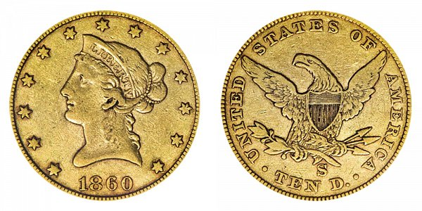 1860 S Liberty Head $10 Gold Eagle - Ten Dollars