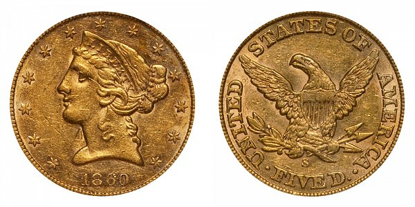1860 S Liberty Head $5 Gold Half Eagle - Five Dollars