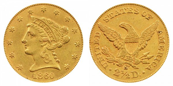1860 S Liberty Head $2.50 Gold Quarter Eagle - 2 1/2 Dollars