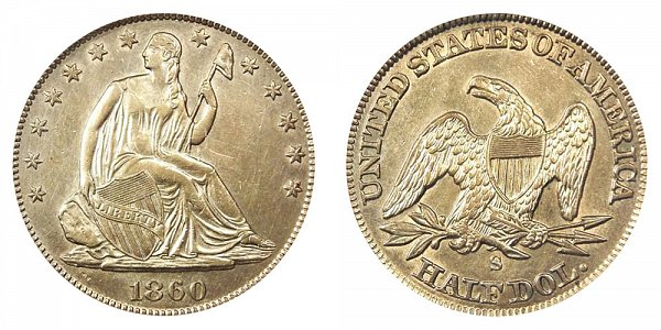 1860 S Seated Liberty Half Dollar
