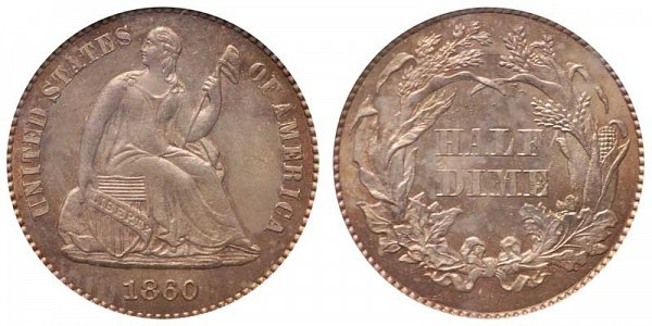 1860 Seated Liberty Half Dime