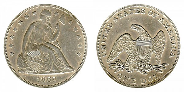 1860 Seated Liberty Silver Dollar