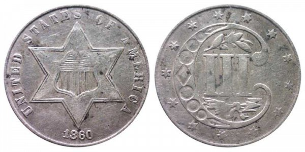 1860 Silver Three Cent Piece Trime
