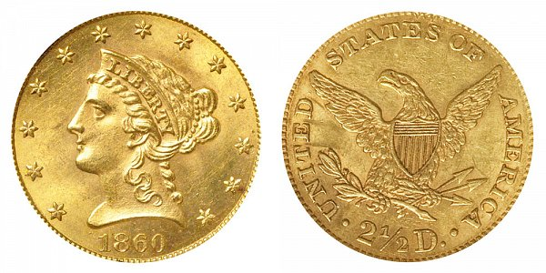 1860 Liberty Head $2.50 Gold Quarter Eagle - New Reverse - Type 2