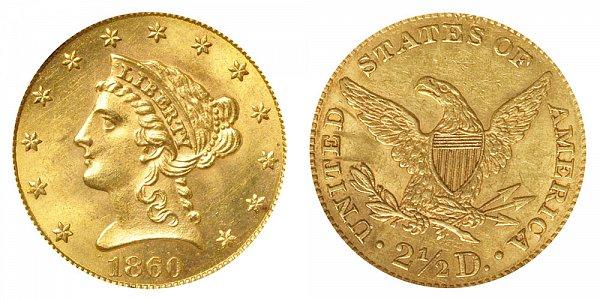 1860 Liberty Head $2.50 Gold Quarter Eagle - New Reverse - Type 2