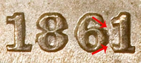 1861/0 Seated Liberty Half Dime Overdate Error - 1 Over 0