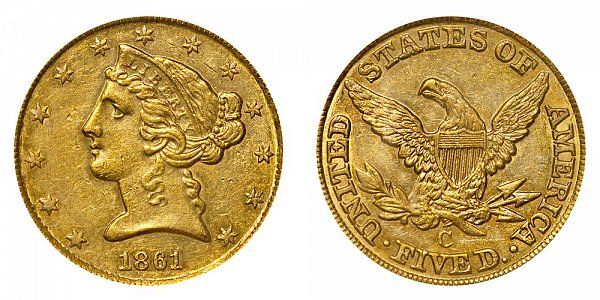 1861 C Liberty Head $5 Gold Half Eagle - Five Dollars