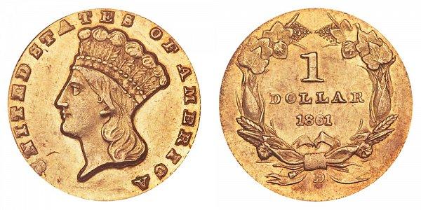 1861 D Large Indian Princess Head Gold Dollar G$1