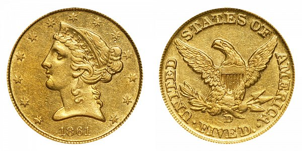 1861 D Liberty Head $5 Gold Half Eagle - Five Dollars