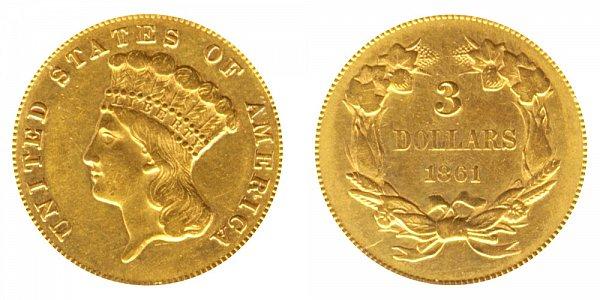 1861 Indian Princess Head $3 Gold Dollars - Three Dollars