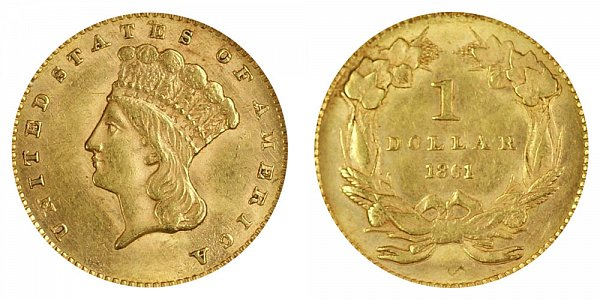 1861 Large Indian Princess Head Gold Dollar G$1