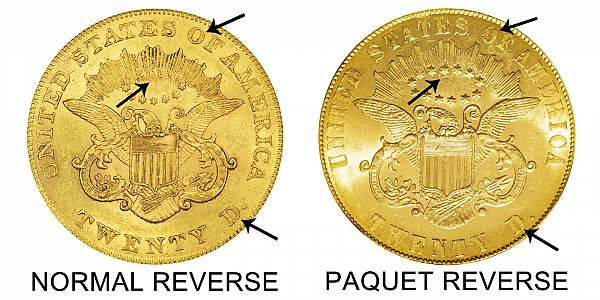 1861 Normal Reverse vs Paquet Reverse - $20 Liberty Head Gold Double Eagle - Difference and Comparison