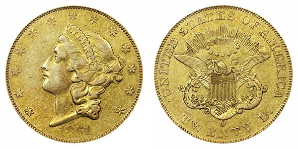 1861 O Liberty Head $20 Gold Double Eagle - Twenty Dollars