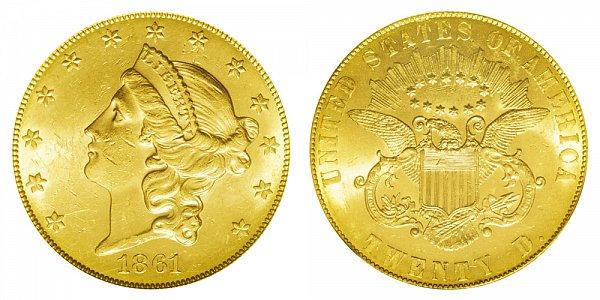 1861 Paquet Reverse Liberty Head $20 Gold Double Eagle - Twenty Dollars