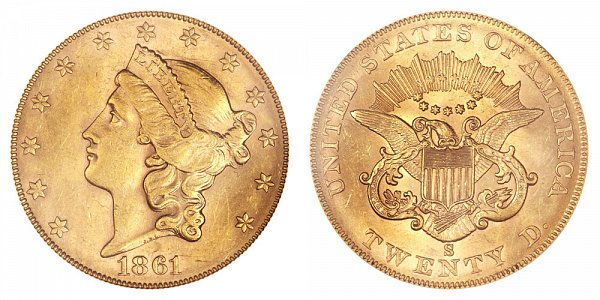 1861 S Normal Reverse Liberty Head $20 Gold Double Eagle - Twenty Dollars
