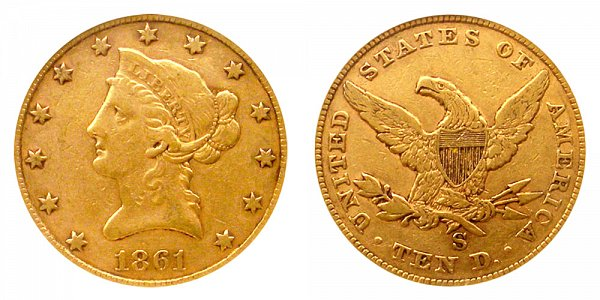 1861 S Liberty Head $10 Gold Eagle - Ten Dollars