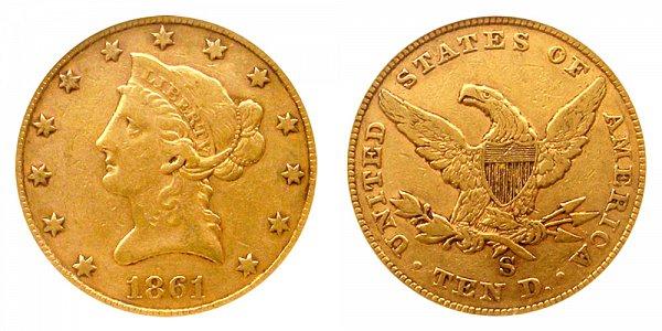 1861 S Liberty Head $10 Gold Eagle - Ten Dollars