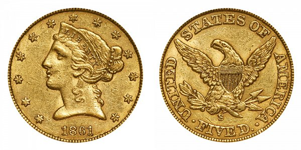1861 S Liberty Head $5 Gold Half Eagle - Five Dollars