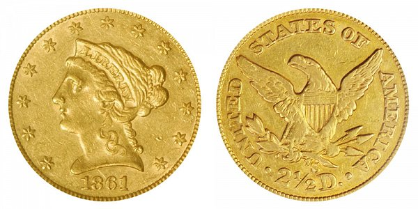 1861 S Liberty Head $2.50 Gold Quarter Eagle - 2 1/2 Dollars