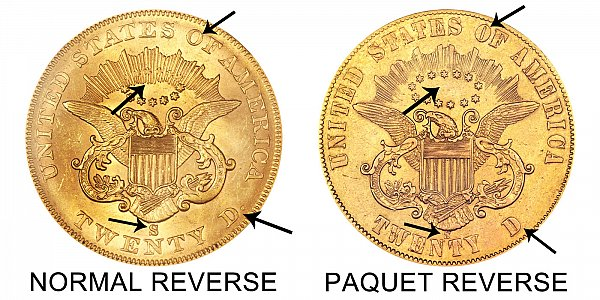 1861 S Normal Reverse vs Paquet Reverse - $20 Liberty Head Gold Double Eagle - Difference and Comparison