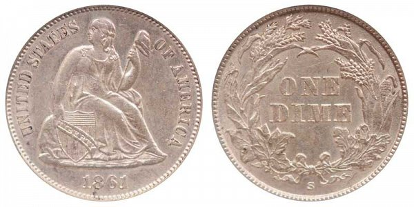 1861 S Seated Liberty Dime