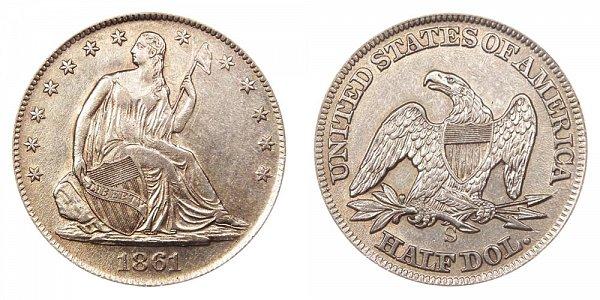 1861 S Seated Liberty Half Dollar