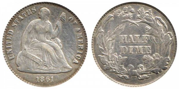 1861 Seated Liberty Half Dime