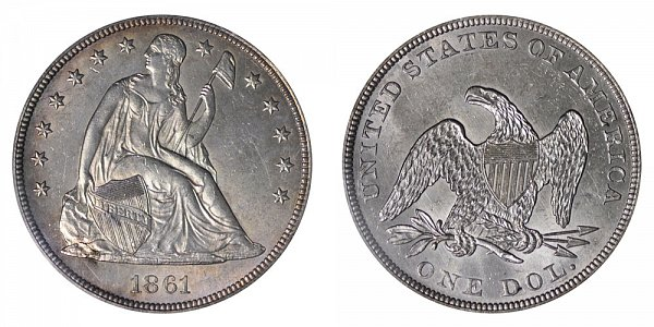 1861 Seated Liberty Silver Dollar