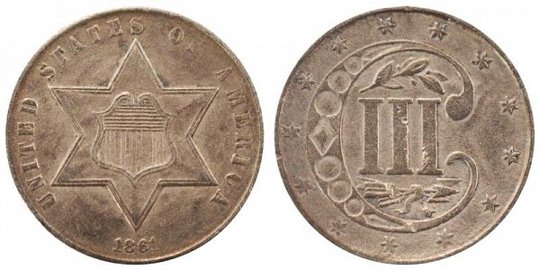 1861 Silver Three Cent Piece Trime